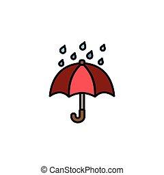 Umbrella and rain. Filled color icon. Weather vector ...