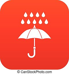 Umbrella and rain icon digital red