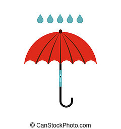 Umbrella and rain icon, flat style
