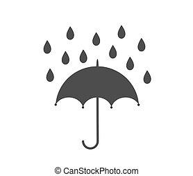 Umbrella and rain icon.