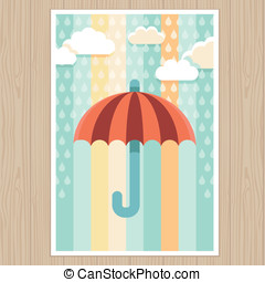 Umbrella and rain - illustration in flat style