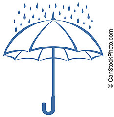 Umbrella and rain, pictogram - symbolical pictogram: blue...