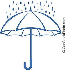 Vector, symbolical pictogram: blue umbrella and rain drops on white background