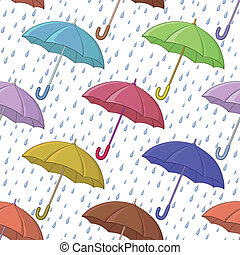 Umbrella and rain, seamless background