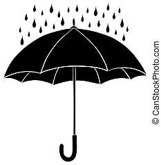 Umbrella and rain, silhouettes - Umbrella and rain drops,...