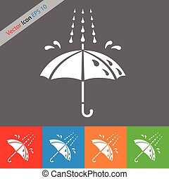 umbrella and rain, vector icon