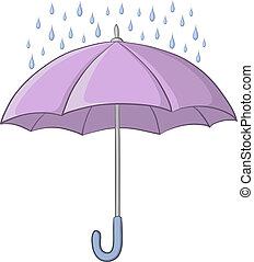 Umbrella and rain - Vector, lilac umbrella and blue rain ...