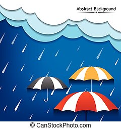 Umbrella and rain with dense clouds abstract background vector