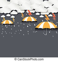 Umbrella and rain with dense clouds background vector