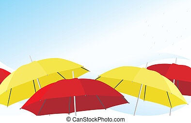 Umbrella and raindrops. Background. Vector illustration