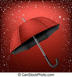umbrella and red snow background