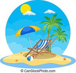 Umbrella and sun lounger on the beach
