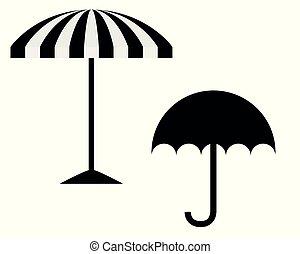 Umbrella and sunshade on white background