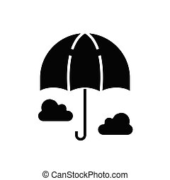 Umbrella black icon, concept illustration, vector flat symbol, glyph sign.