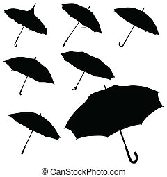 umbrella black silhouette vector on white background