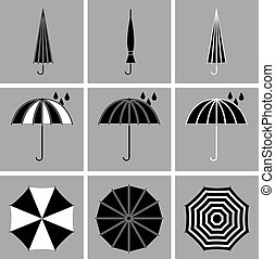 Umbrella black vector icons