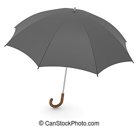 Umbrella - Black vintage style umbrella. White background