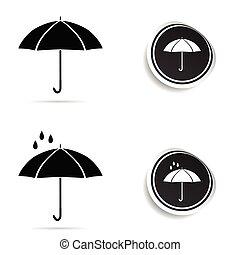 umbrella black with rain illustration