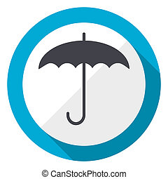 Umbrella blue flat design web icon
