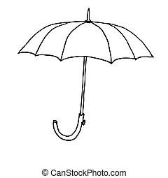 umbrella., contour, croquis, drawing., illustration, main, automne, arrière-plan., vecteur, noir, monochrome, blanc