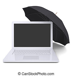 Umbrella covers the laptop