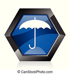 Umbrella dark blue glossy hexagon geometric diamond vector web icon with reflection on white background. Modern design hexagonal internet button.