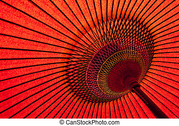 Detail of a traditional red japanese umbrella