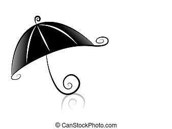 Umbrella - Black and White Series: Umbrella with Clipping...