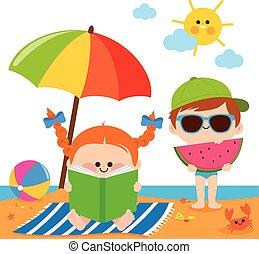 umbrella., eten, illustratie, kinderen, vector, watermeloen, snede, onder, lezende , strand, boek