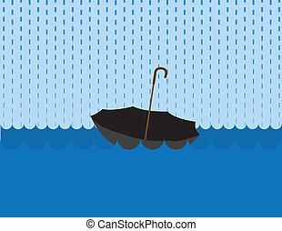 Umbrella Floating Rain - Umbrella floating in a large body...