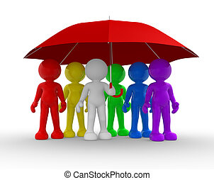 Umbrella - Group of people under the umbrella - This is a 3d...