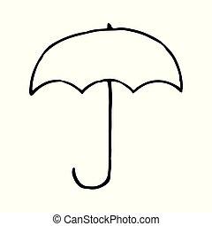 Umbrella hand drawn outline doodle icon