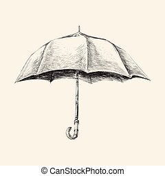 Umbrella hand drawn sketch vector illustration