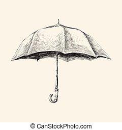 Umbrella hand drawn sketch vector illustration