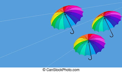umbrella hanging animation 3d illustration render2