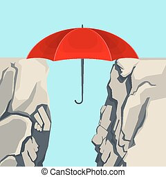Umbrella hanging on edges of abyss isolated illustration -...