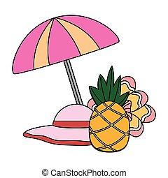 umbrella hat pineapple flower tropical summer