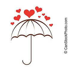 umbrella hearts rain icon