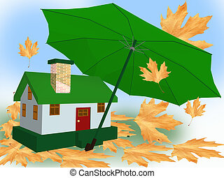 umbrella house leaves, protection