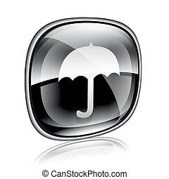 Umbrella icon black glass, isolated on white background