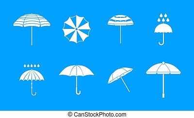 Umbrella icon blue set