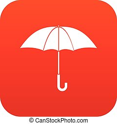 Umbrella icon digital red