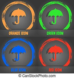 umbrella icon. Fashionable modern style. In the orange, green, blue, red design. Vector