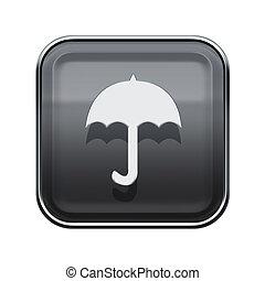 Umbrella icon glossy grey, isolated on white background