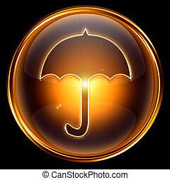Umbrella icon gold, isolated on black background
