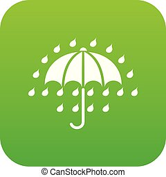 Umbrella icon green vector