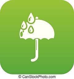 Umbrella icon green vector