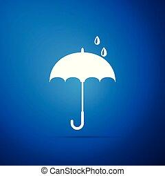 Umbrella icon isolated on blue background. Flat design. Vector Illustration