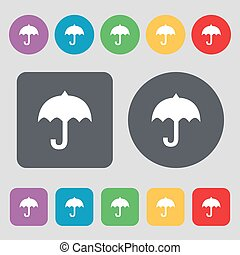 umbrella icon sign. A set of 12 colored buttons. Flat design. Vector