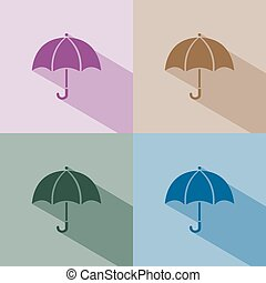 Umbrella icon with shade on winter colored background